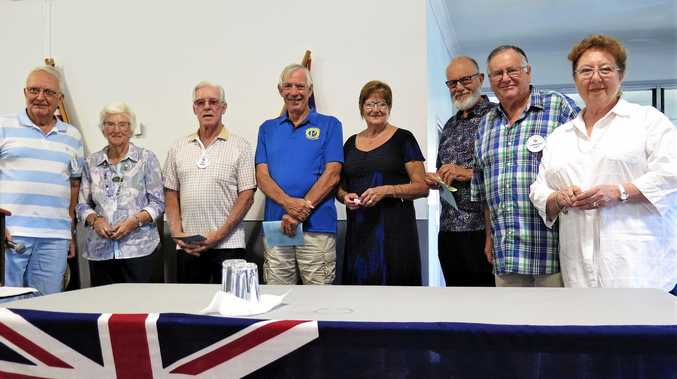 NEW TEAM: President John Miller (far left) inducts new members into the Burleigh Waters Probus club and enjoyed a pleasant lunch at the Currumbin RSL.