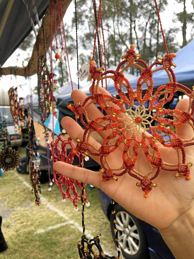 Pieces in Carmen's Wearable Art stall at Fishermans Road Markets, Maroochydore.