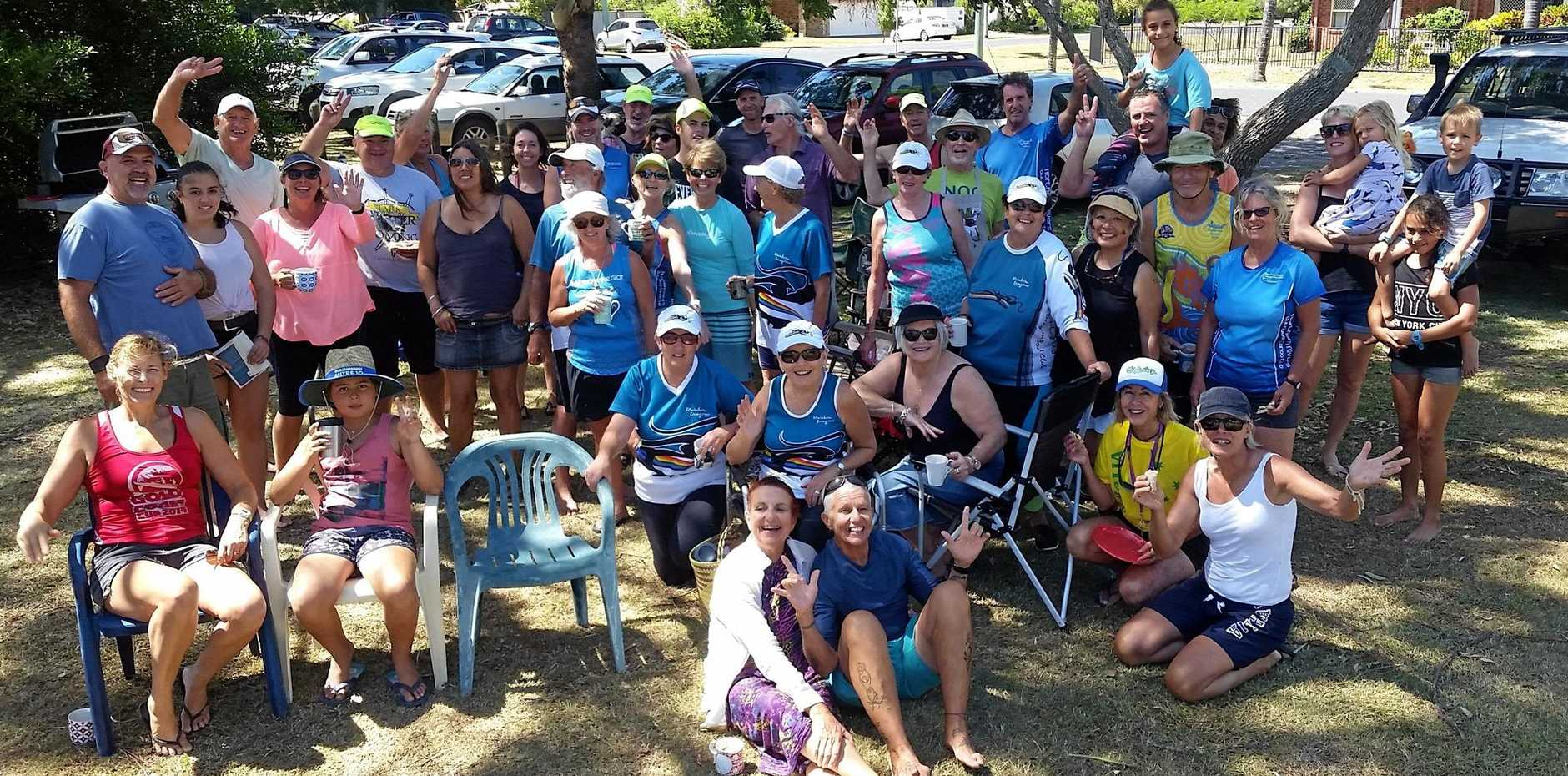 OUTRIGGERS: Northern Rivers Outrigger Canoe Club at their Australia Day Paddle event.