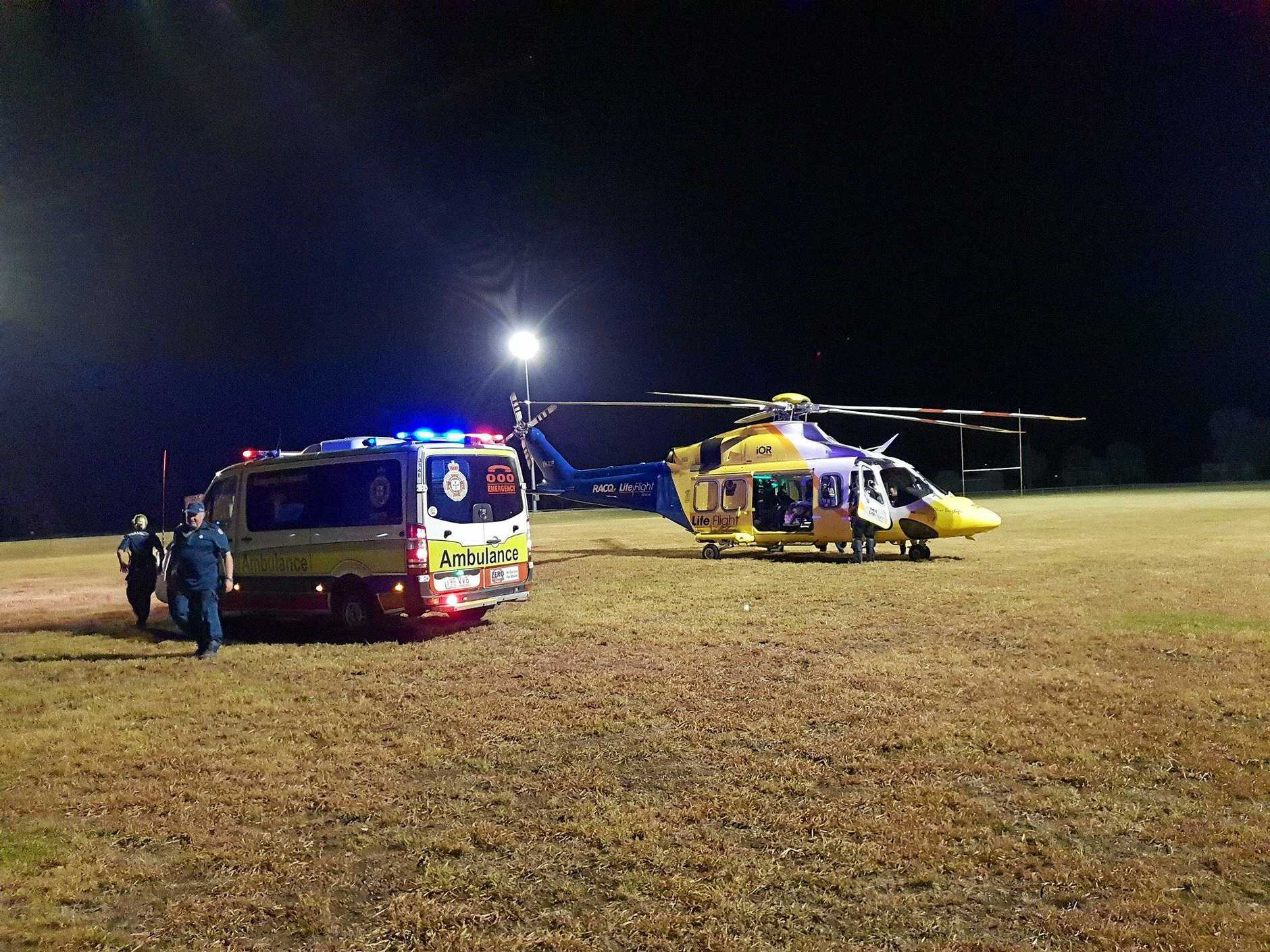 INJURED: A man was airlifted to the Princess Alexandra Hospital after a serious motorbike crash on Spring Creek Rd at The Falls last night.