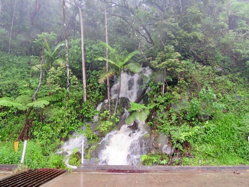 A waterfall flowing along Eungella Range road.