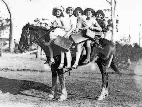 CHEAP TRANSPORTATION: Children riding horseback to school, Glass House Mountains, 1928.