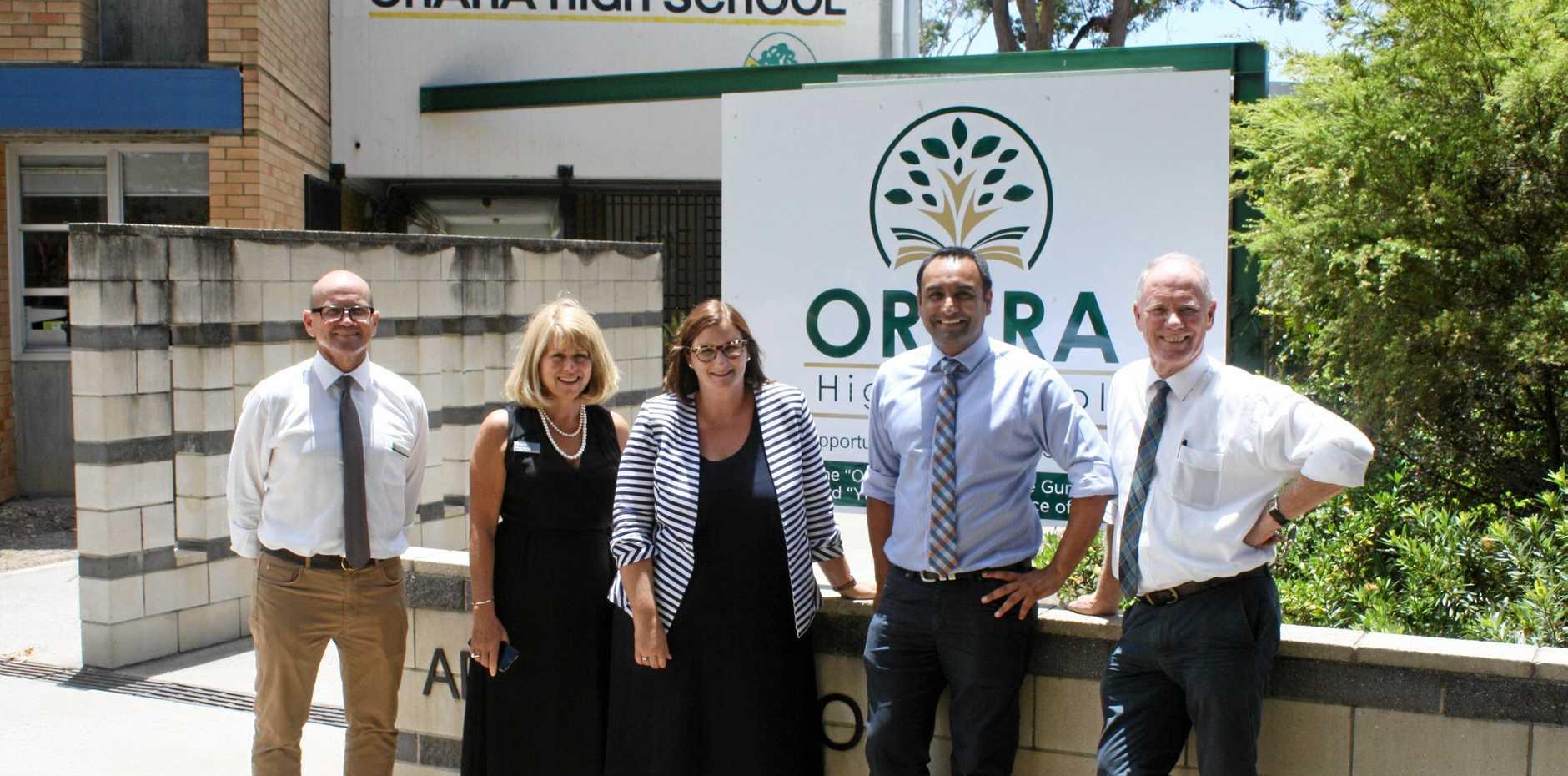 L-R: Orara High School principal Malcolm McFarlane, Department of Education director educational leadership Jenny Murray, Sarah Mitchell, Gurmesh Singh and Andrew Fraser at Orara High School.