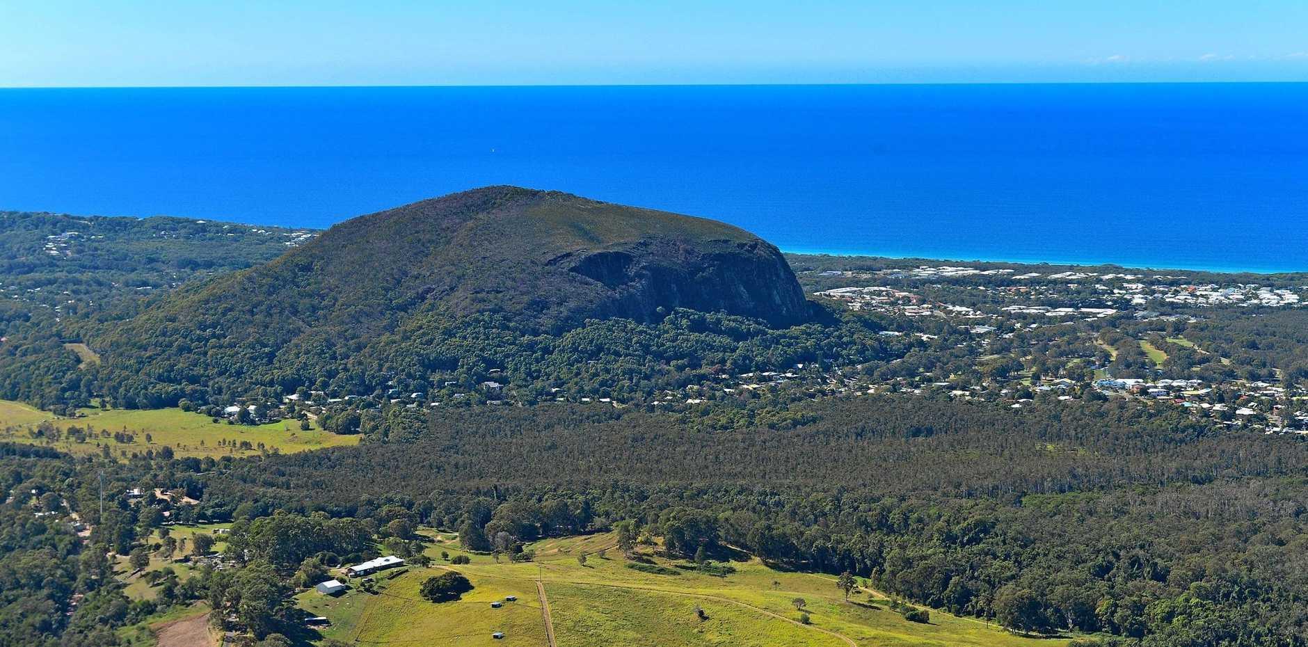 Aerial photography Sunshine Coast. Mount Coolum.