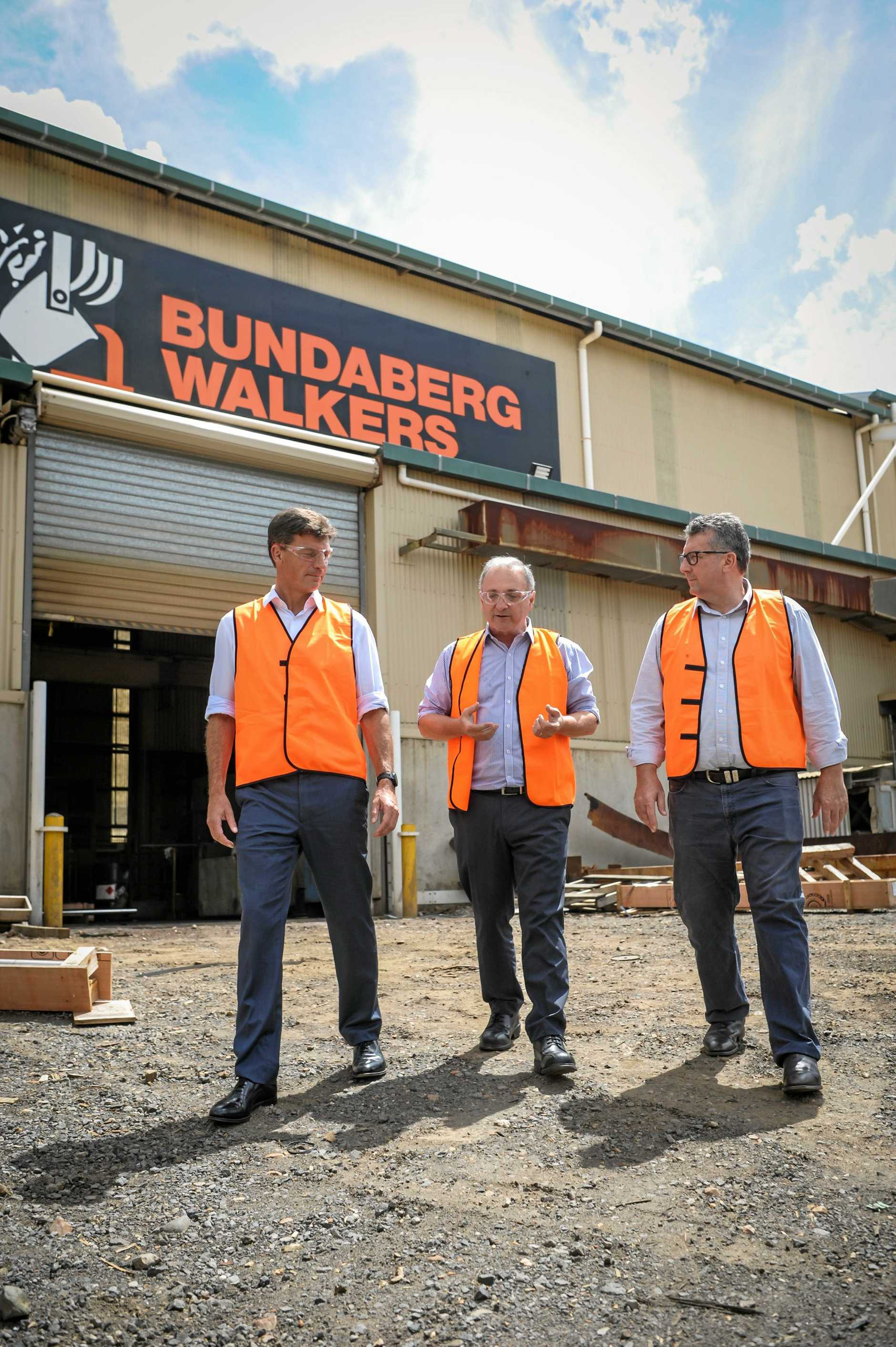 The Minister for Energy, Angus Taylor and the Federal Minister for Hinkler, Keith Pitt, visited Bundaberg Walkers to discuss the crippling cost of electricity with the General Manager, Enio Troiani.