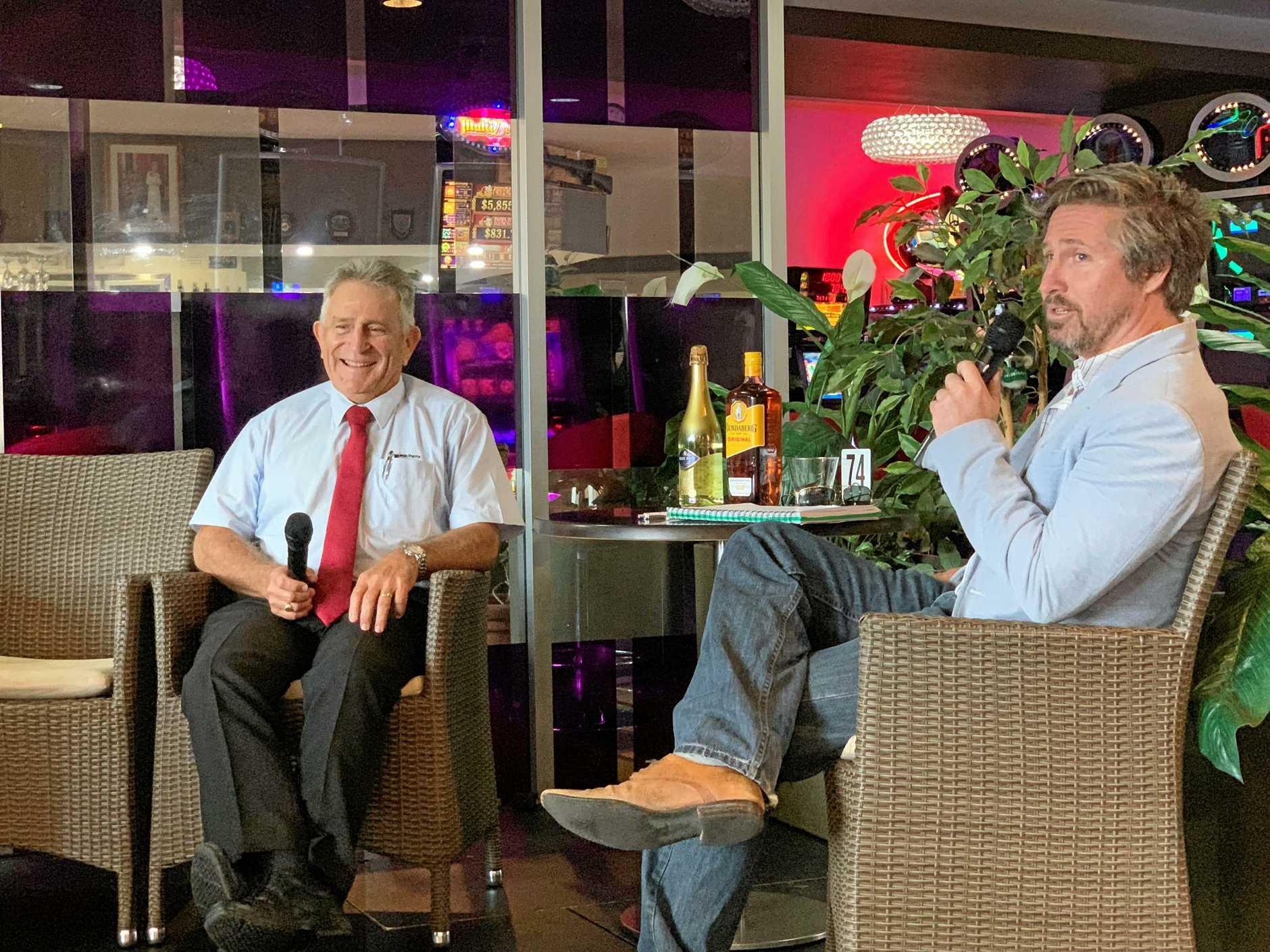 Matt Collins interviewing Ken Mills at the South Burnett Business Breakfast