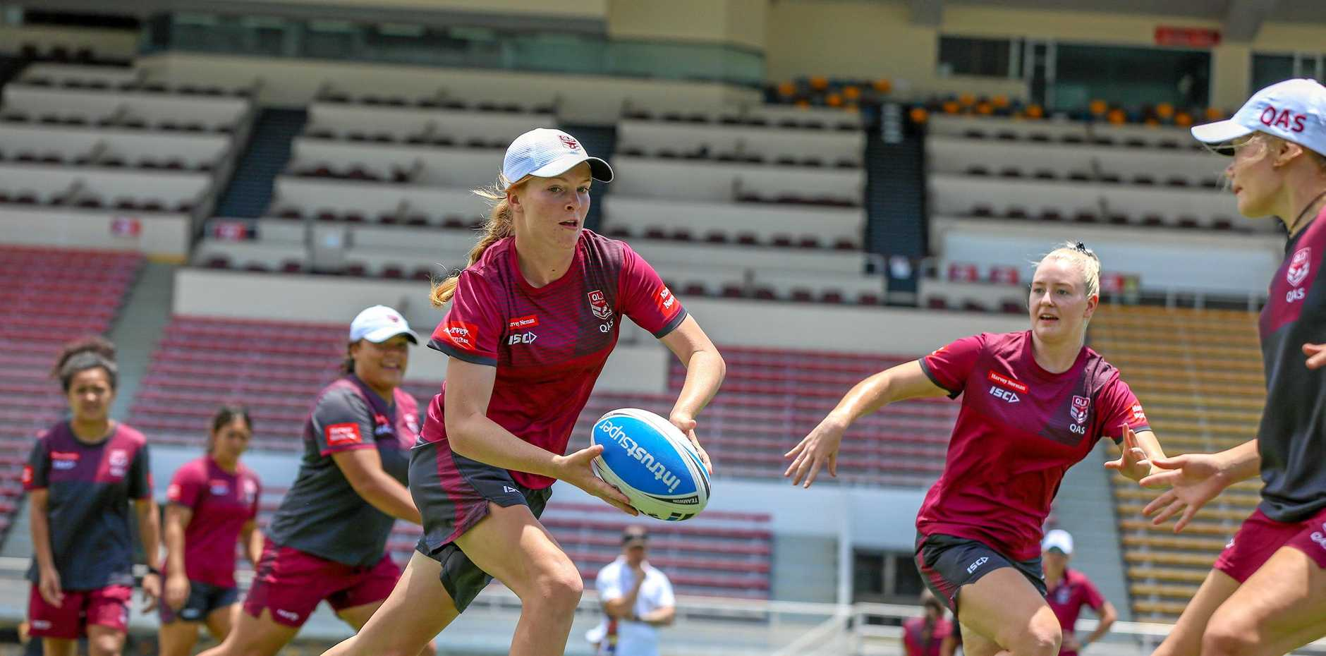 DETERMINED: Reeghyn Beardmore is put through her paces at the Queensland U18s Emerging Origin camp.