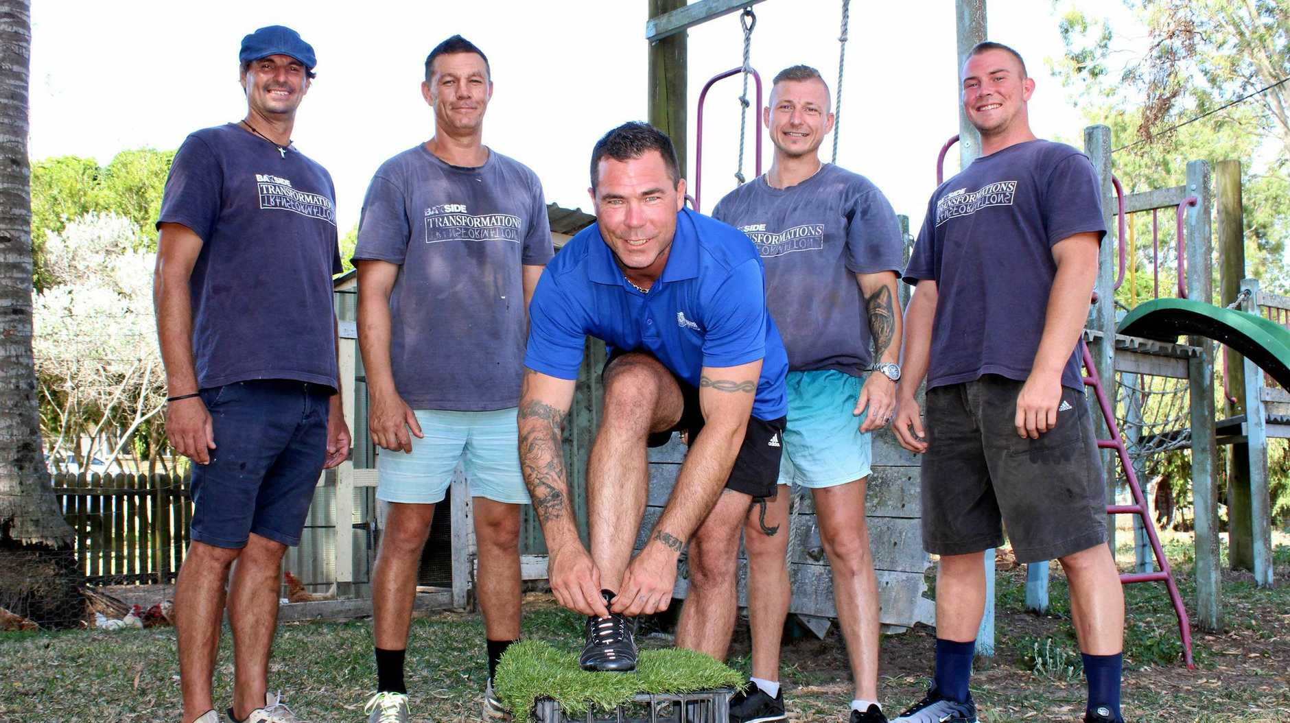 LIFE CHANGING: (Back) Paul Bertino, Allan Harvey, Matty Swarzes and Zack Walthall. (Front) Bayside Transformations graduate Josh Alsop who will share his recovery journey at the Steps for Recovery Walk held on Saturday, February 16.