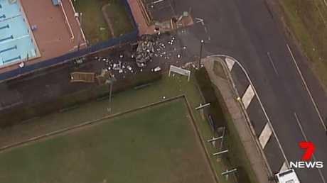 Debris is strewn everywhere at the scene of the Mt Tamborine crash. Photo: Channel 7