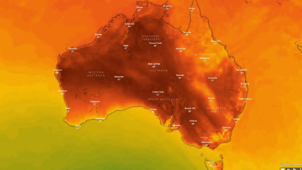 Temperatures are set to peak on Wednesday into the mid to late 30s in many major cities in the southeast and Perth. Picture: Windy