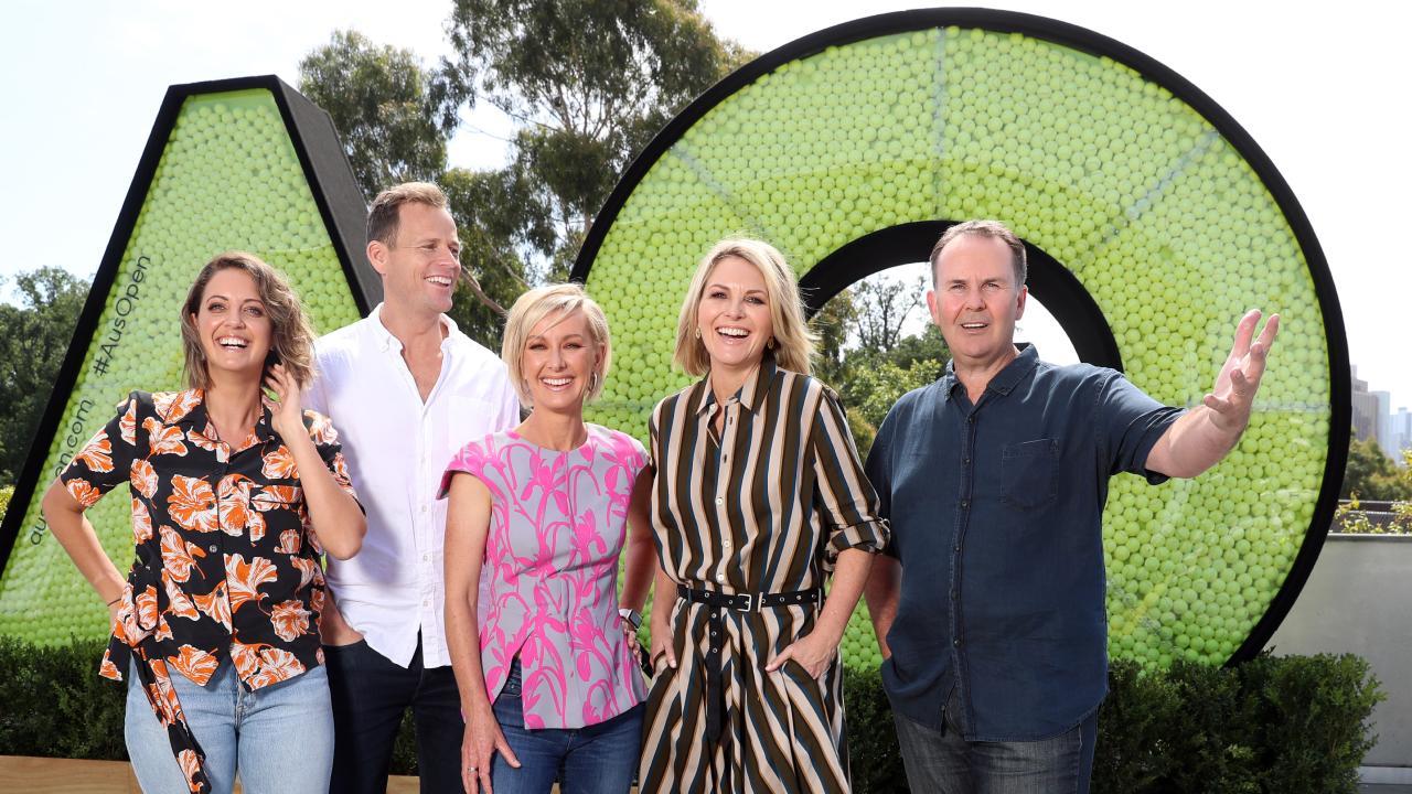 Today hosts Brooke Boney, Tom Steinfort, Deb Knight, Georgie Gardner and Tony Jones at the Australian Open site. Picture: Alex Coppel