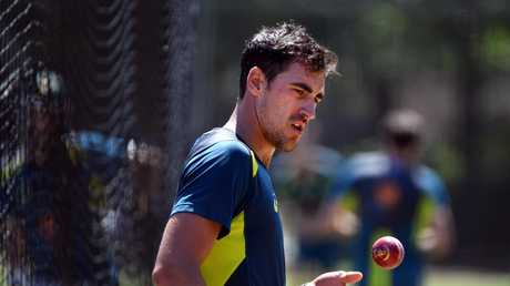 Mitchell Starc in the nets at Manuka Oval. (AAP Image/Mick Tsikas)