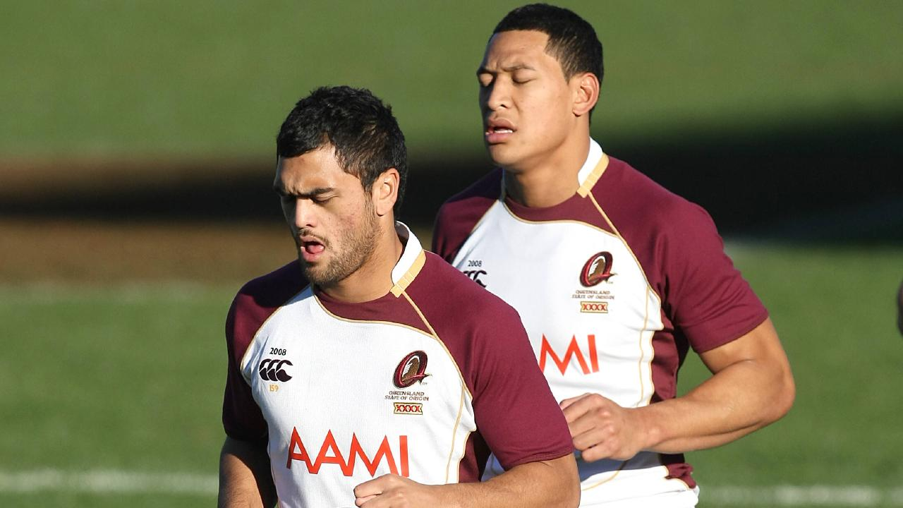 Karmichael Hunt and Israel Folau during their rugby league days.