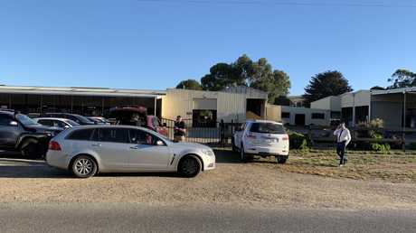 Police at the Darren Weir stables at Miners Rest, Ballarat, this morning. Picture: Josh Fagan