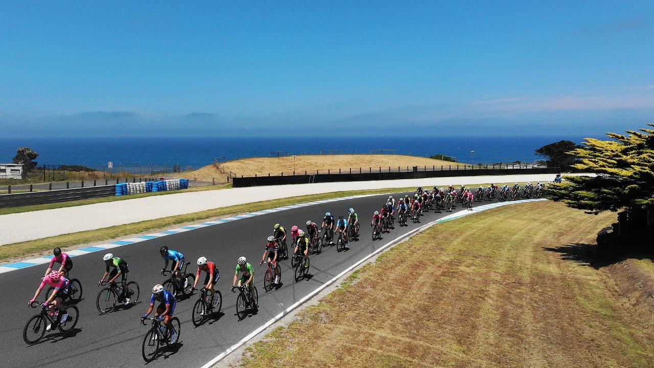 Riders compete in Stage 1 of the Herald Sun Tour at Phillip Island. Picture: Michael Klein