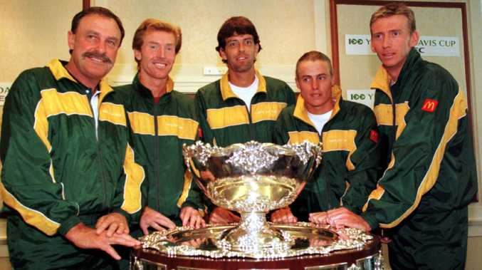 Mark Woodforde (second from left) with 1999 Australian Davis Cup team members John Newcombe, Standon Stolle, Lleyton Hewitt and Wayne Arthurs. Picture: Nick Wilson/ALLSPORT