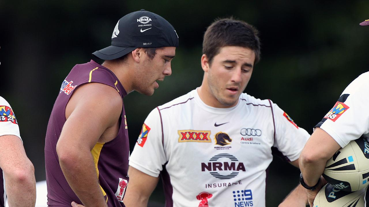 Corey Norman and Ben Hunt during their time at the Broncos. Picture: Glenn Barnes