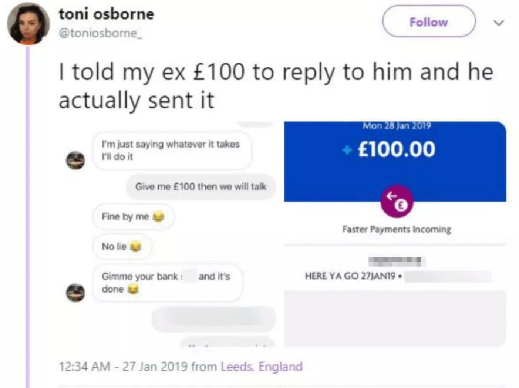 Amazingly the woman's ex paid when she 'charged' him to speak to her.