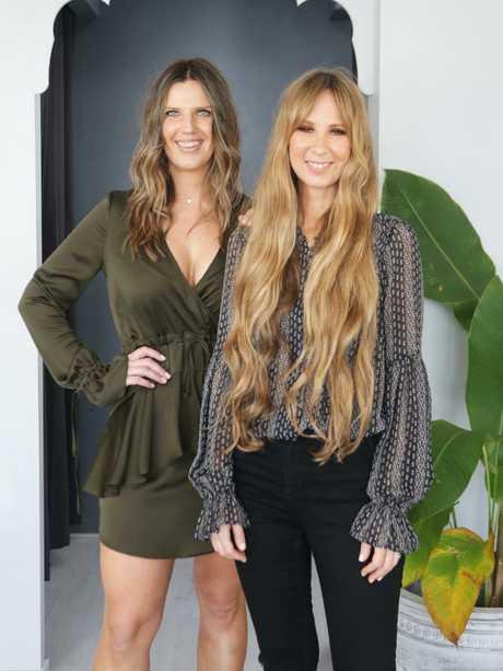 Michelle Gataric and Karissa McLaren of KM Makeup Studios, East Brisbane. Photo AAP/ Ric Frearson