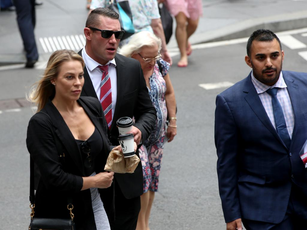 O'Donnell arrives with his girlfriend at Downing Centre Court in Sydney on Wednesday. Picture: Damian Shaw