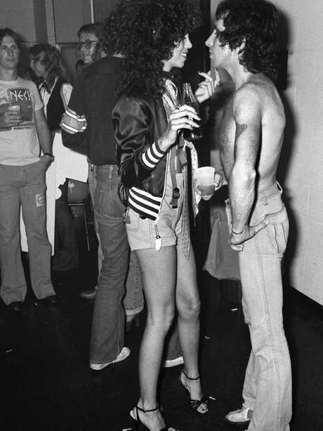 Bon Scott backstage in the US in 1978