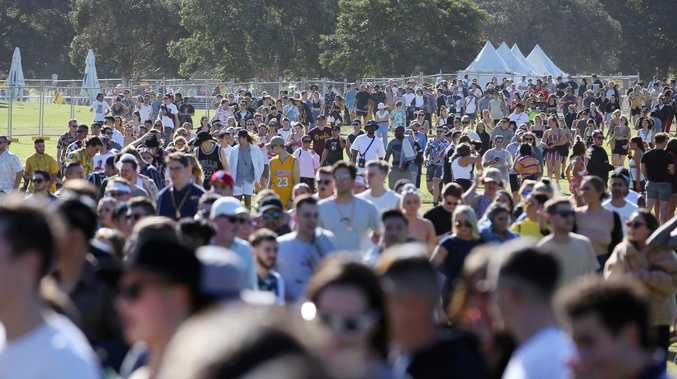 Revellers arrive at the Listen Out Festival in Centennial Park today and meet a heavy police presence. Picture: Sam Ruttyn