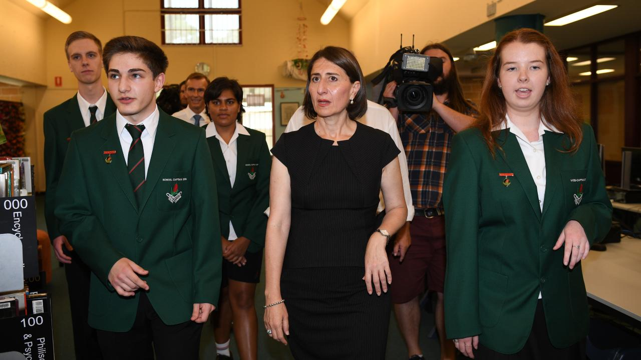 NSW Premier Gladys Berejiklian visits Heathcote High School in Sydney. Picture: Dan Himbrechts