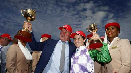 Darren Weir and Michelle Payne celebrate Prince Of Penzance's 2015 Melbourne Cup win. Picture: Colleen Petch