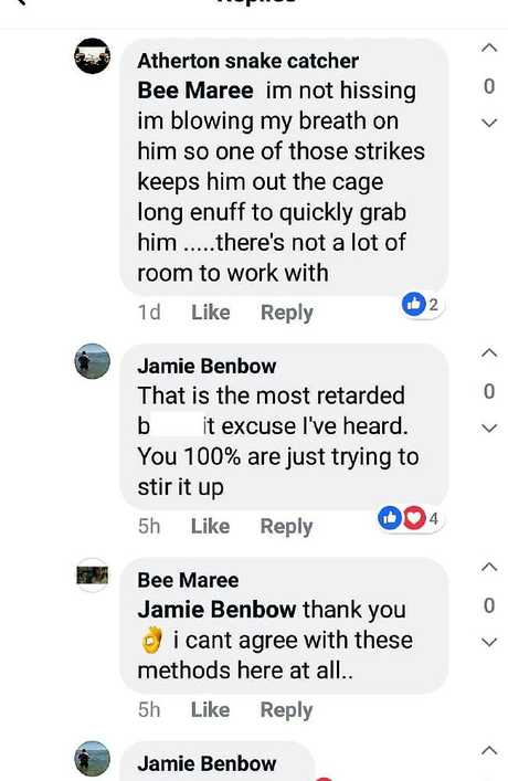 The exchanges on Facebook were heated. Source: Atherton Snake Catcher/Facebook.