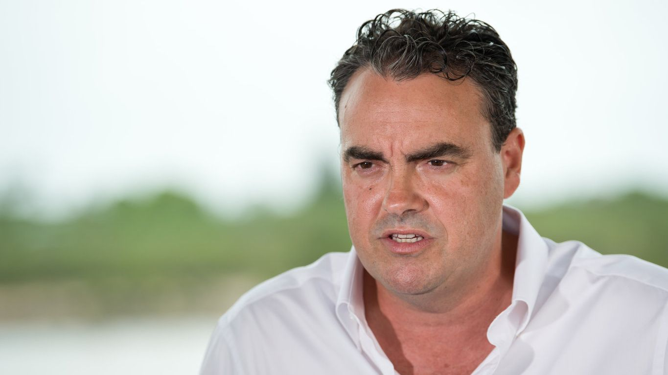 An animated Jason Costigan faced media in Mackay on Thursday to deny harassment allegations made against him.
