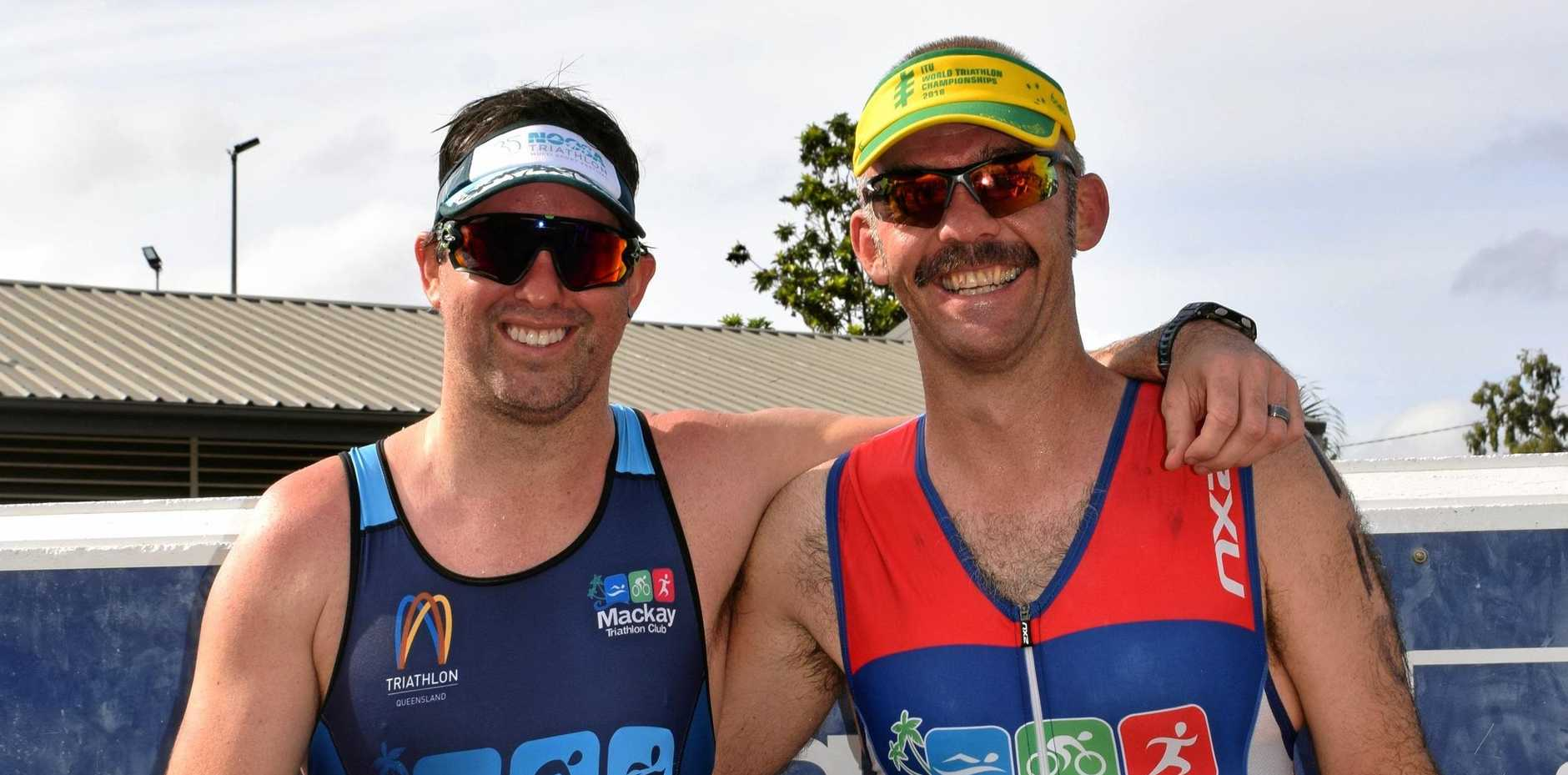 ALL SMILES: Luke Gottke, who placed second in the Open Male category, and winner James Leonard.