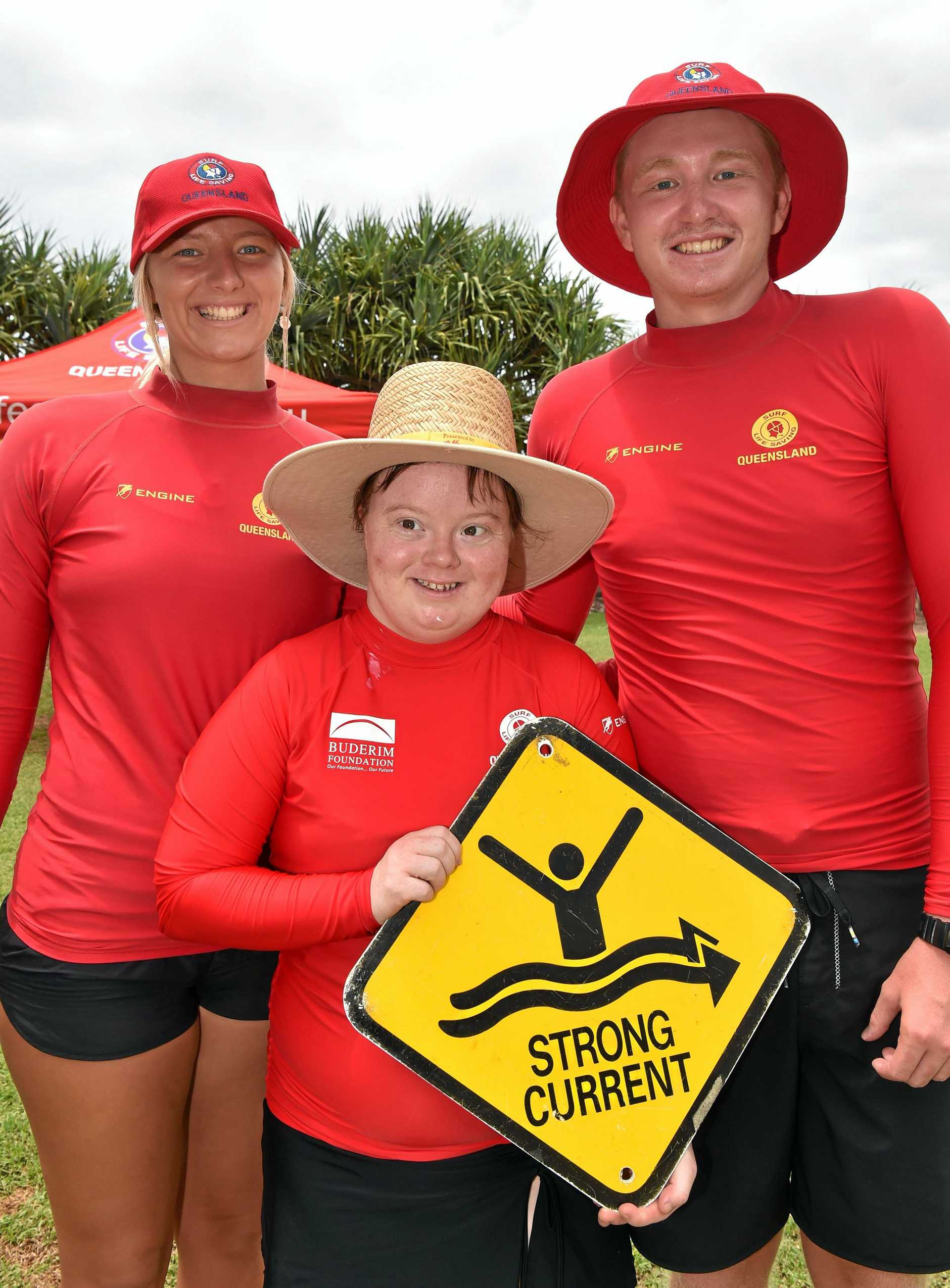 The Compass Istitute visits Kings Beach for surf safety lessons. Bek with Brook Hagan and Riley Palmer learning about surf safety.