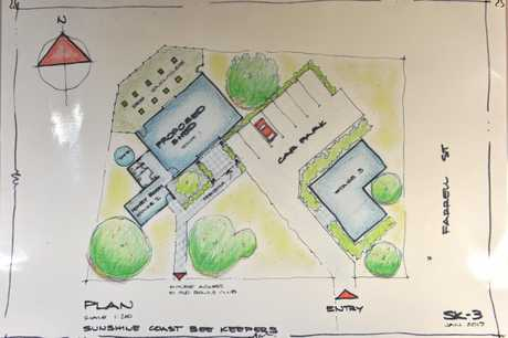 Rough sketches of the new beekeeping education facility in Yandina.