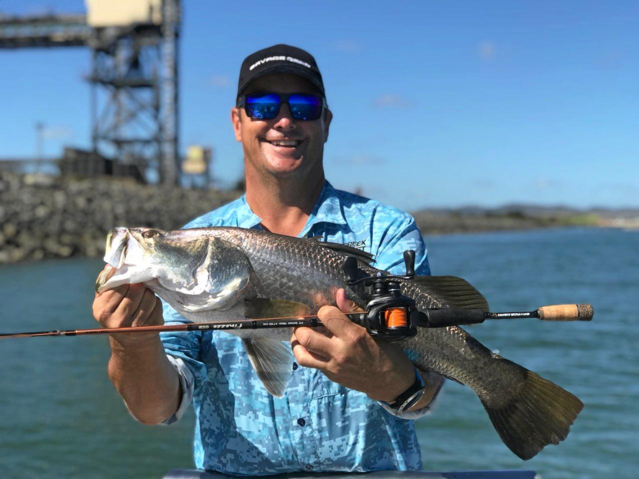 GOOD FISH: Scotty Hiller with a nice barramundi caught in the Harbour,