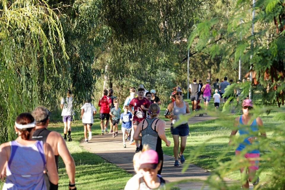 Dalby parkrun is held along Myall Creek on Saturday mornings.