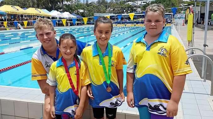 Biloela Bluefins - Connor Williams, Harper Fowler, Taylah Fowler and Tyler Seagrott