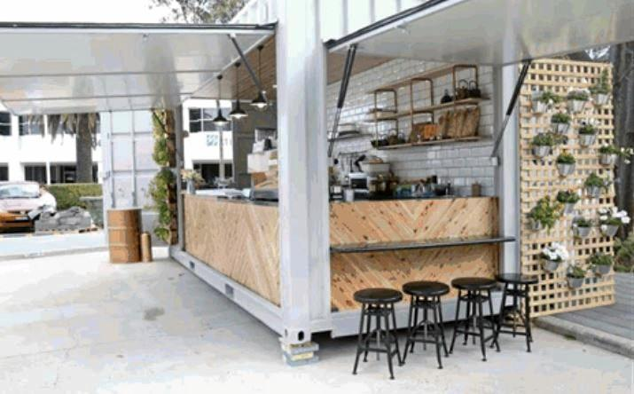 Shipping container cafe design examples presented to the Sunshine Coast Council, who will construct their own $150,000 venue in Happy Valley in August this year.
