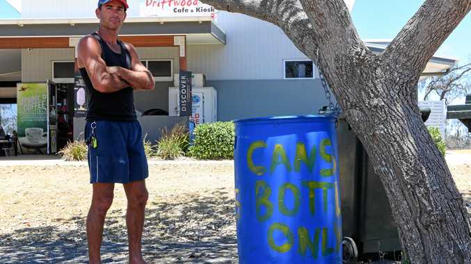 LOW BLOW: Dean Lillyman contemplates how low people can be after thieves stole bottles and cans from outside Driftwood Cafe.