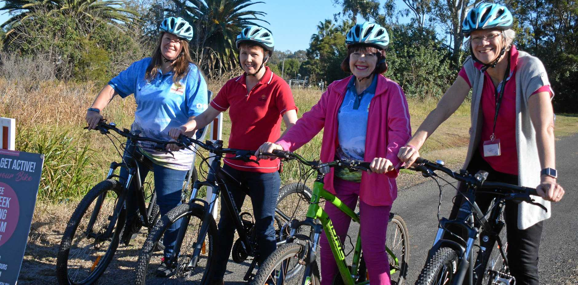 RIDING: South Burnett councillors Danita Potter, Roz Frohloff, Kathy Duff and Ros Heit get on their bikes on the South Burnett Rail Trail in Kingaroy.