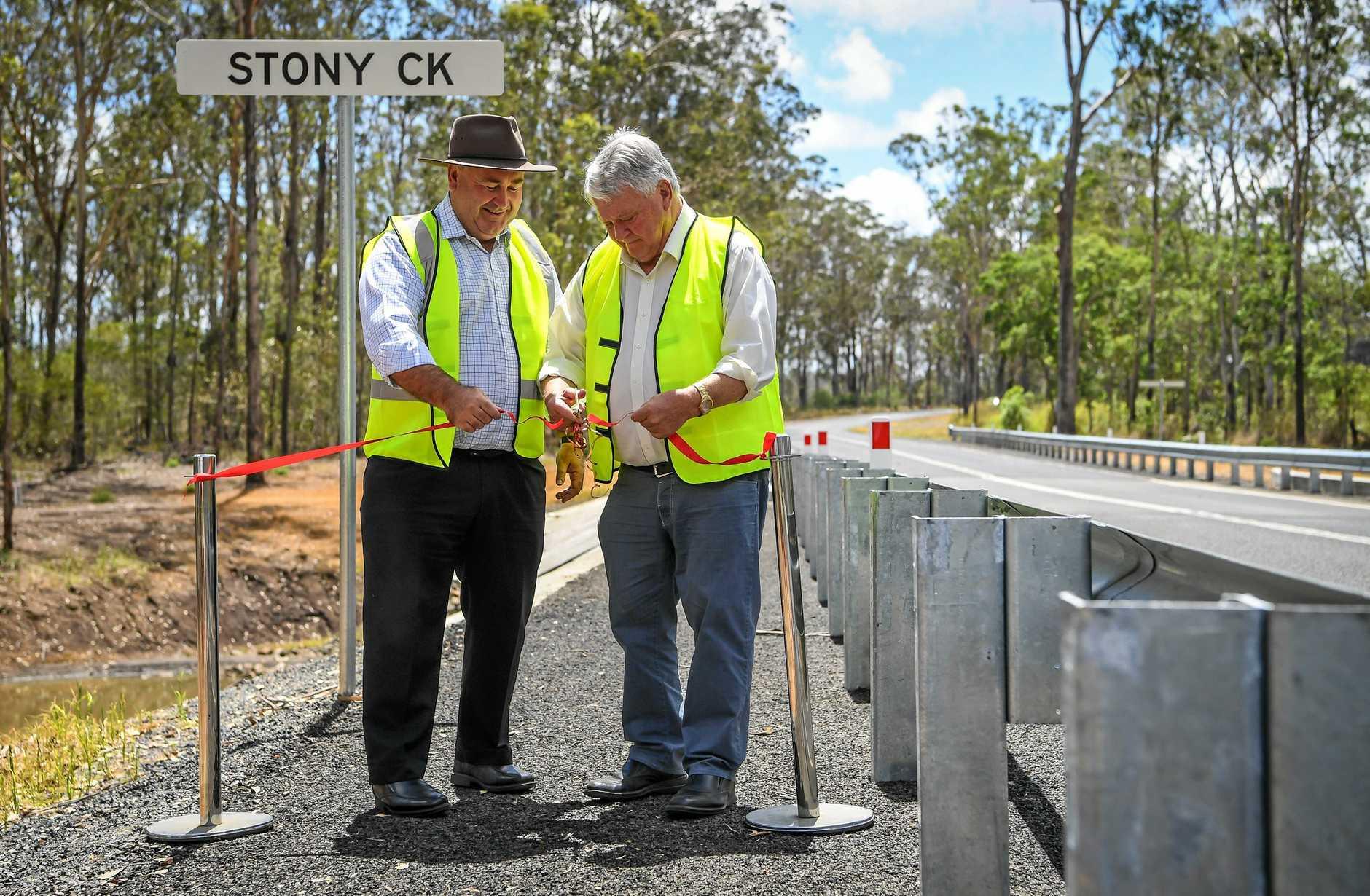 BUILDING BRIDGES: Bundaberg Mayor Jack Dempsey and Member for Flynn Ken O'Dowd open the new Stoney Creek Bridge on Bucca Rd.