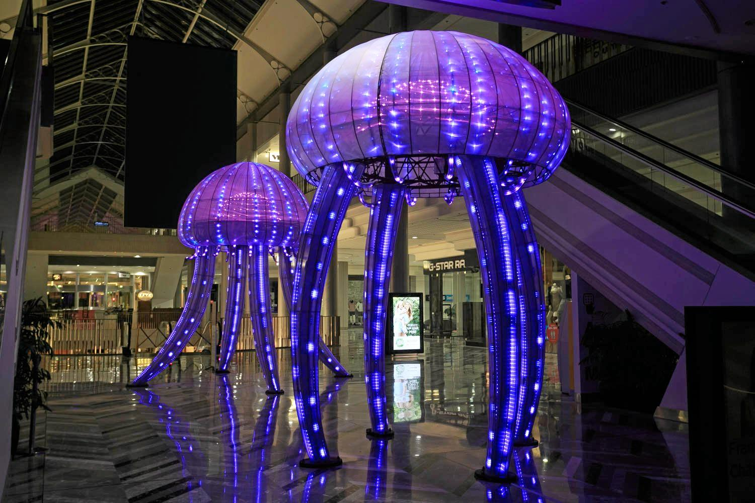 LIGHT UP: The immersive jellyfish installation incorporates state of the art interactive components and lighting hardware.