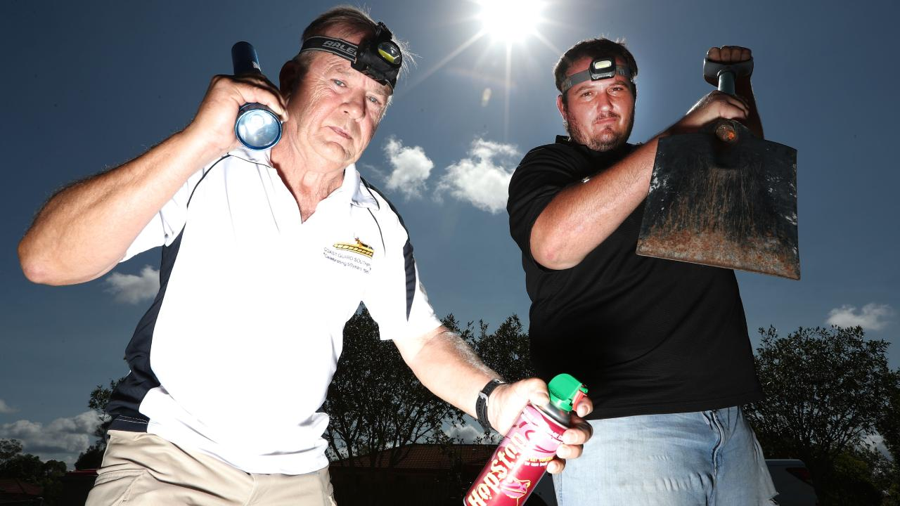 Varsity Lakes Residents John Beyea and David Nestor (right are organising a cane toad cull in his neighbourhood. Photograph: Jason O'Brien