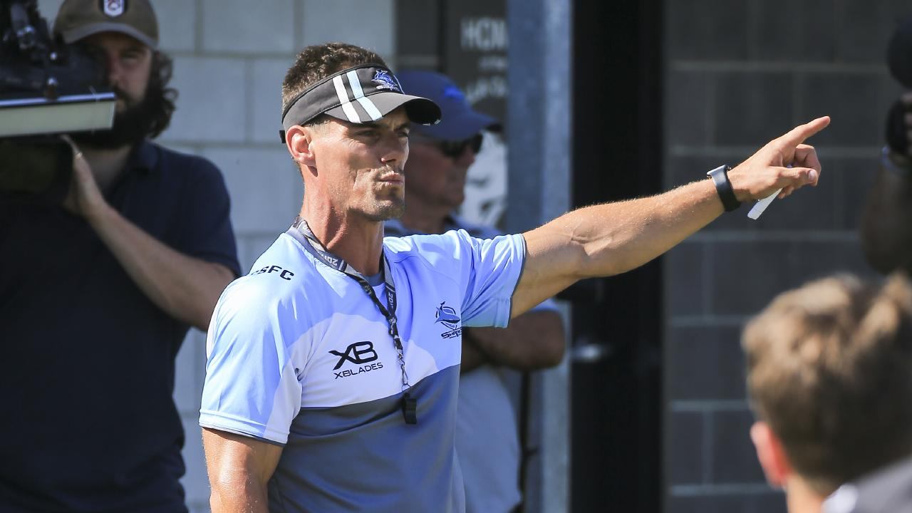 Cronulla Sharks coach John Morris at a whole club training session with 160 players from Harold Matthews to NRL at Cronulla High School fields. Picture: Dylan Robinson
