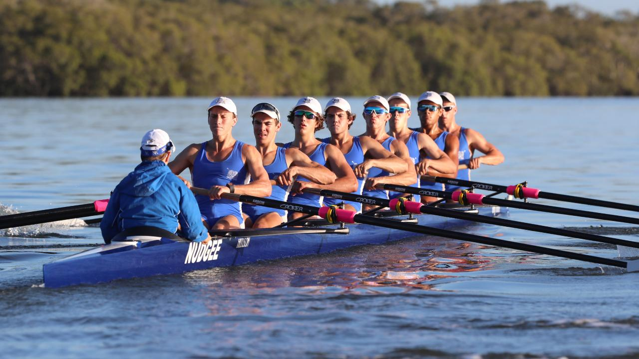 Nudgee College rowing team. Picture: Darren England
