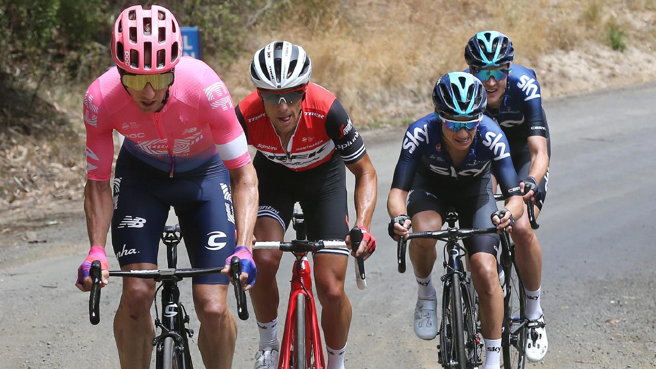 Michael Woods leads Richie Porte up a climb on Stage 2 of the Herald Sun Tour. Picture: Michael Klein