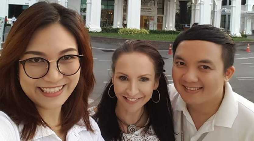 Ms Licciardo pictured outside Bangkok Hospital where she used to take clients for cosmetic surgery with her former business.
