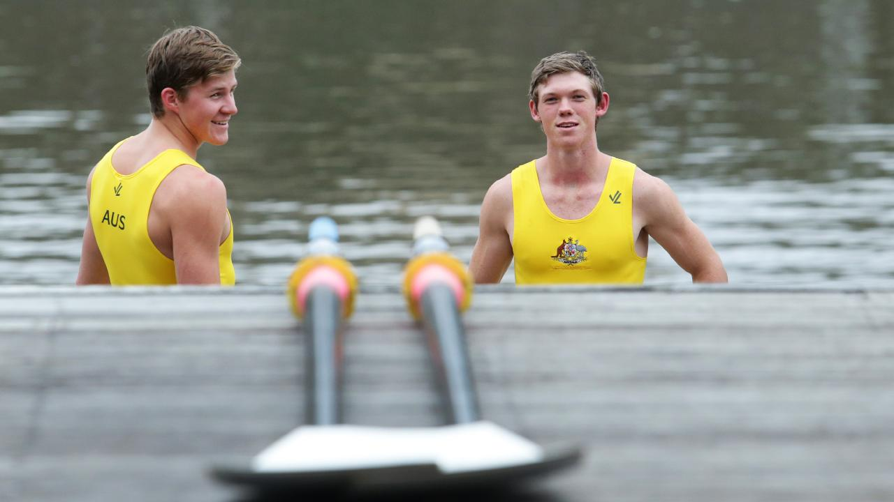 Nudgee College rowers Alex King and Harley Moore.
