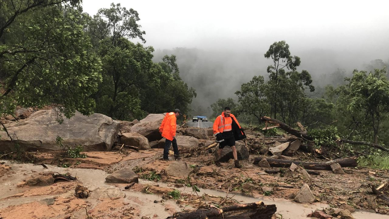A landslide blocked Hervey Range Road during heavy rainfall and flash flooding in Townsville on Wednesday. Picture: Julia Bradley