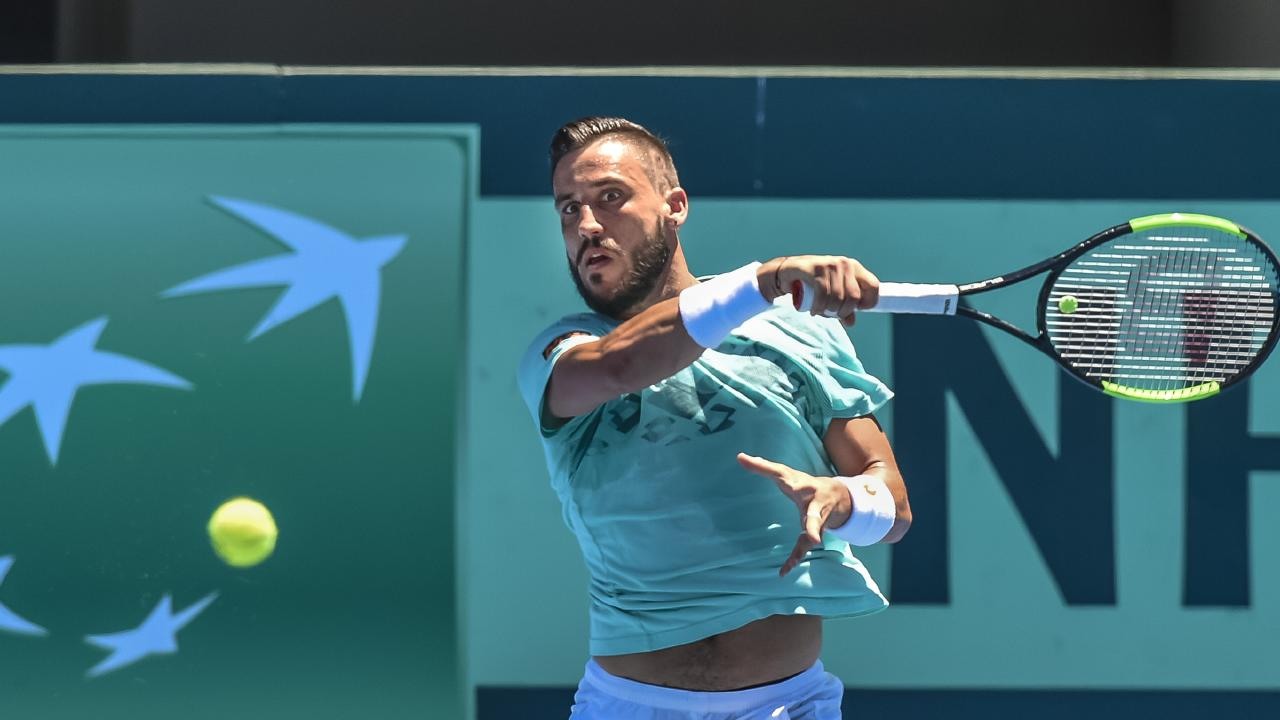 Bosnia/Herzegovina tennis player Damir Dzumhur during a practice session at Memorial Drive this week. Picture: AAP Image/Roy VanDerVegt