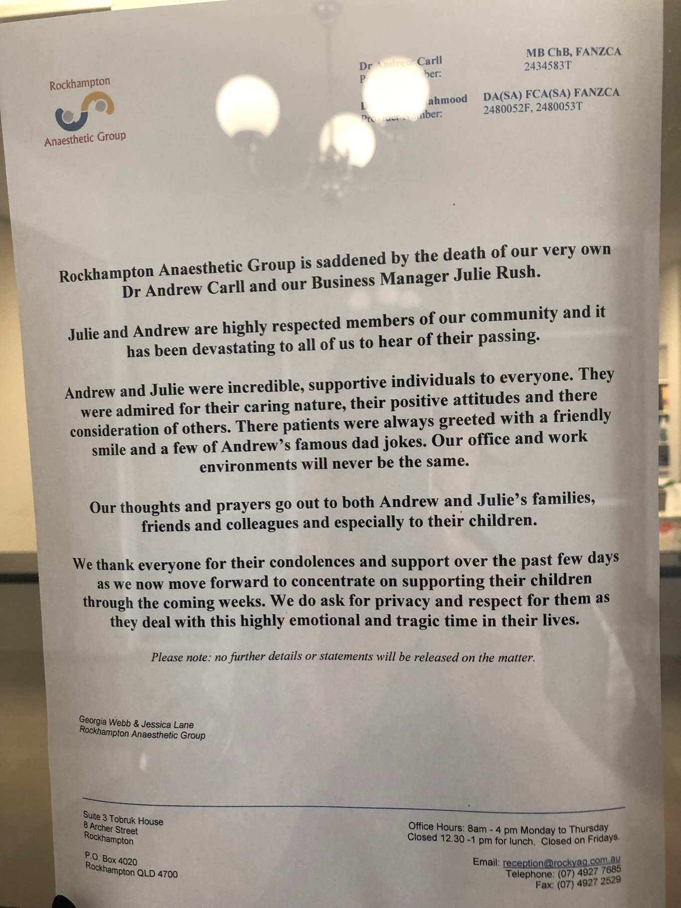 Rockhampton Anaesthetic Group has made an official statement in regards to the death of two of their staff members on Monday night